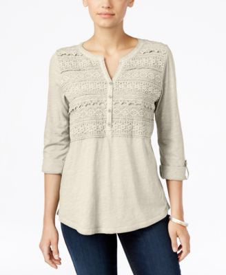 Style & Co. Petite Crochet-Front Top, Only at Vogily