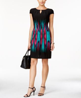 Tahari ASL Cap-Sleeve Flame-Print Sheath Dress