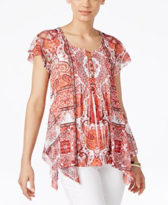 Style & Co. Petite Printed Handkerchief-Hem Peasant Top, Only at Vogily
