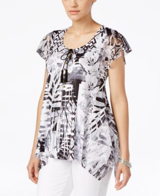 Style & Co. Printed Crochet-Trim Top, Only at Vogily