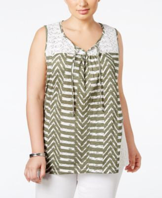 Style & Co. Plus Size Printed Sleeveless Peasant Top, Only at Vogily
