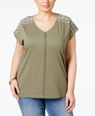 Style & Co. Plus Size Dolman-Sleeve Embroidered Top, Only at Vogily