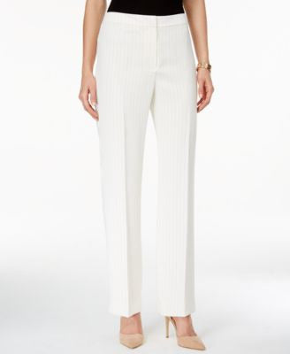 Kasper Pinstriped Straight-Leg Pants