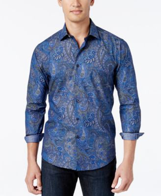 Tallia Men's Paisley Long-Sleeve Shirt