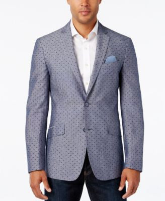 Tallia Men's Big & Tall Vince Dot-Print Chambray Sport Coat