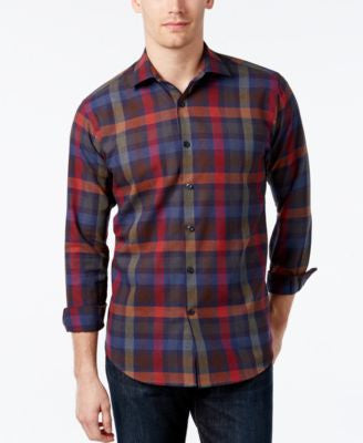 Tallia Men's Plaid Long-Sleeve Shirt