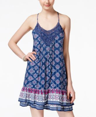 American Rag Printed Crochet-Trim Slip Dress, Only at Vogily