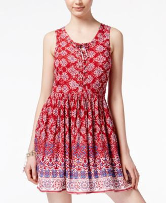 American Rag Printed Lace-Up Sundress, Only at Vogily