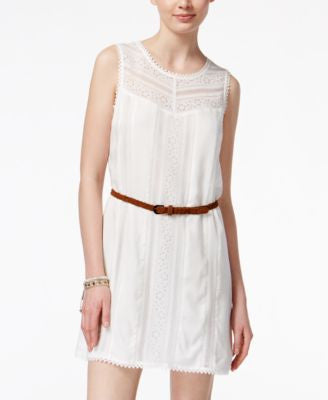 American Rag Crochet-Trim Shift Dress with Belt, Only at Vogily