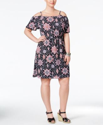 Eyeshadow Trendy Plus Size Printed Cold-Shoulder Fit & Flare Dress