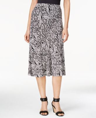 JM Collection Petite Printed A-Line Jacquard Skirt, Only at Vogily