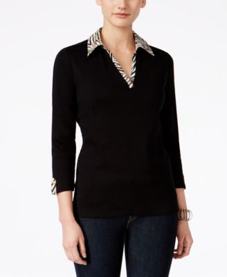 Karen Scott Petite Printed-Trim Three-Quarter-Sleeve Top, Only at Vogily