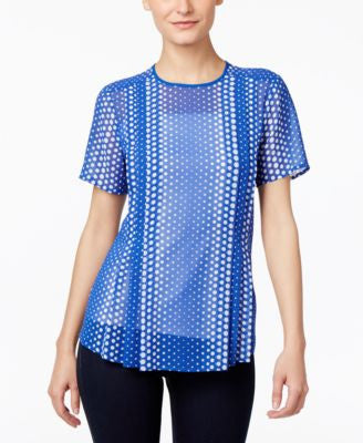 MICHAEL Michael Kors Petite Sheer Dot-Print Top