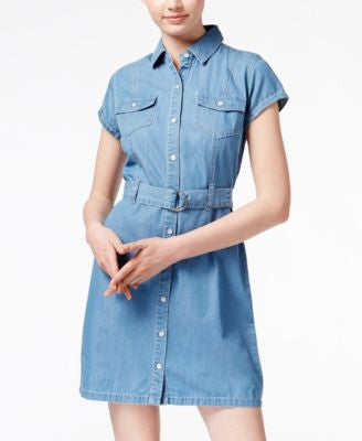 American Rag Short-Sleeve Denim Shirtdress, Only at Vogily