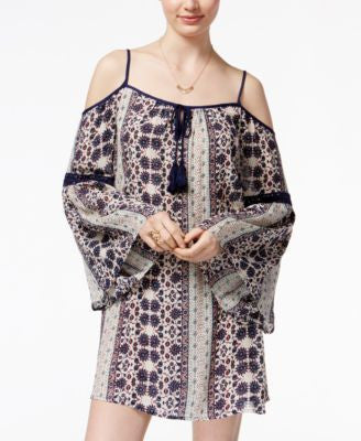 American Rag Printed Crochet-Trim Off-The-Shoulder Shift Dress, Only at Vogily