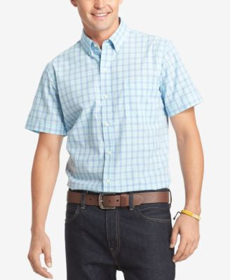 IZOD Men's Big & Tall Plaid Short-Sleeve Shirt