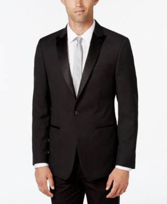 Calvin Klein Men's Slim-Fit Black Houndstooth Evening Jacket