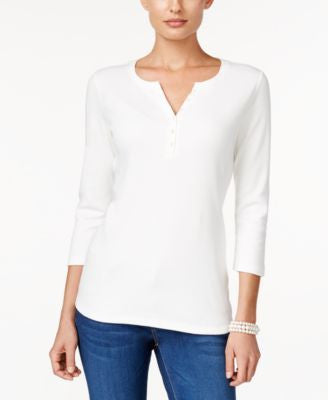 Karen Scott Petite Henley Top, Only at Vogily