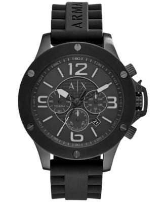 A|X Armani Exchange Men's Chronograph Black Silicone Strap Watch 48mm AX1523