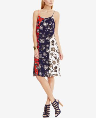 Vince Camuto Printed Colorblocked Fit & Flare Dress