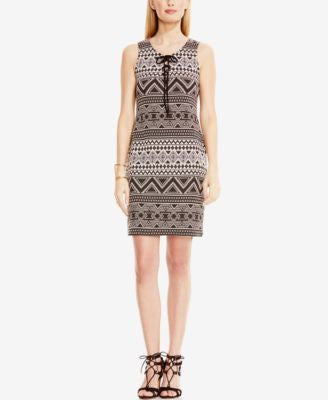 Vince Camuto Printed Lace-Up Sheath Dress