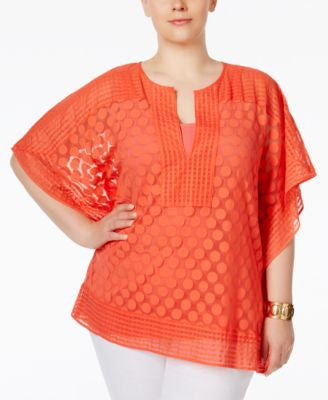 Alfani Plus Size Dotted-Lace Overlay Top, Only at Vogily
