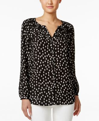 Charter Club Petite Button-Down Printed Blouse, Only at Vogily