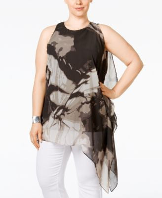 Alfani Plus Size Butterfly-Print Asymmetric Tunic, Only at Vogily