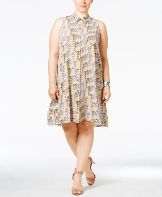 Alfani Plus Size Printed Trapeze Shirtdress, Only at Vogily