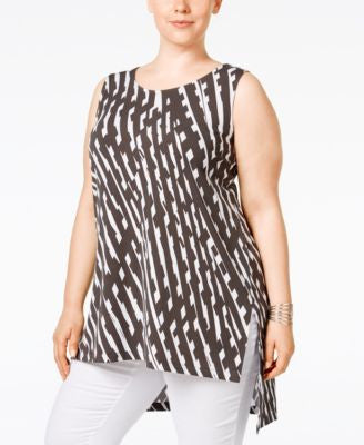 Alfani Plus Size Printed Asymmetrical Tunic, Only at Vogily