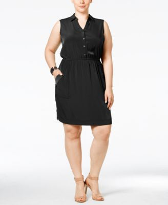 Alfani Plus Size Gathered-Waist Shirtdress, Only at Vogily