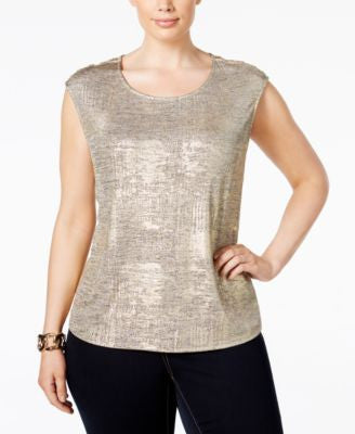 Calvin Klein Plus Size Metallic Cap-Sleeve Top