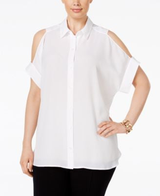 MICHAEL Michael Kors Plus Size Cold-Shoulder Tunic Shirt