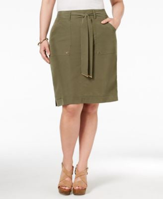 INC International Concepts Plus Size Belted Cargo Skirt, Only at Vogily