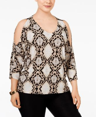INC International Concepts Plus Size Cold-Shoulder Dolman Top, Only at Vogily