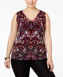 INC International Concepts Plus Size Printed Tank Top, Only at Vogily