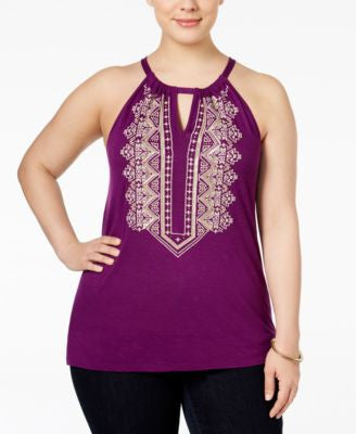 INC International Concepts Plus Size Embroidered Halter Top, Only at Vogily