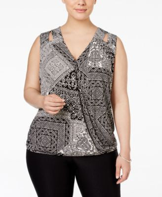 INC International Concepts Plus Size Embellished Surplice Top, Only at Vogily