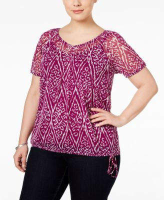 INC International Concepts Plus Size Printed Blouson Top, Only at Vogily