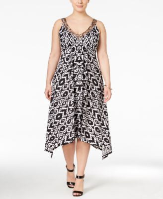 INC International Concepts Plus Size Handkerchief-Hem Dress, Only at Vogily