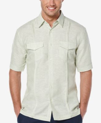 Cubavera Men's Linen Pleated Short-Sleeve Shirt