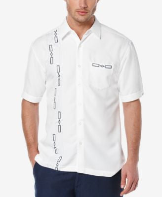 Cubavera Men's Geo Embroidered Short-Sleeve Shirt