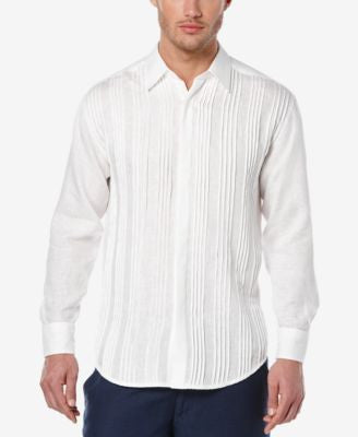Cubavera Men's Linen Multi-Pleat Long-Sleeve Shirt