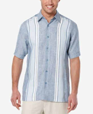 Cubavera Men's Linen Embroidered Stripe Short-Sleeve Shirt