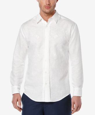 Cubavera Men's Linen Embroidered Long-Sleeve Shirt