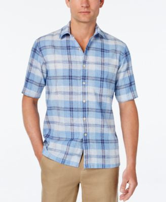 Tasso Elba Men's Linen Plaid Short-Sleeve Shirt, Classic Fit