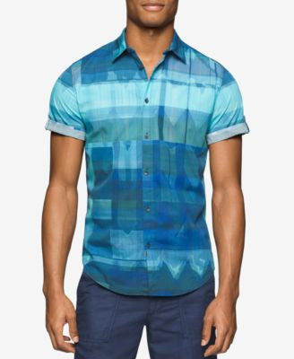 Calvin Klein Jeans Men's Diffused Ikat-Print Short-Sleeve Shirt