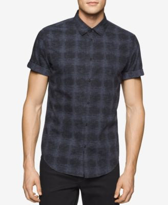 Calvin Klein Jeans Men's Watermark Plaid Short-Sleeve Shirt