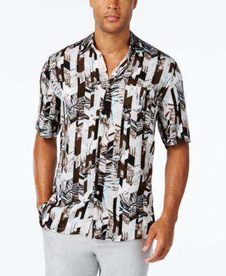 Tasso Elba Men's Abstract-Print Short-Sleeve Shirt, Classic Fit