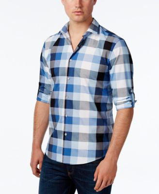 Alfani Men's Long Sleeve Mason Twilight Plaid Shirt, Only at Vogily